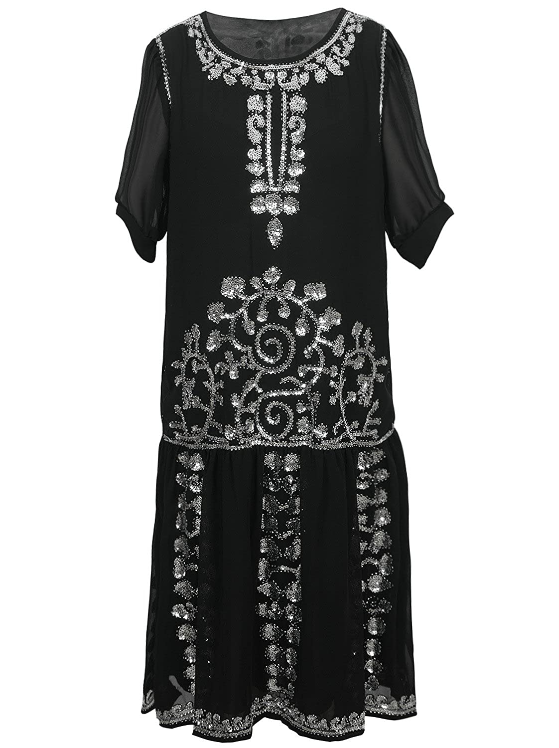 1920s Clothing Vijiv Womens Black 1920s Vintage Charleston Chiffon Beaded Sequin Flapper Dress $44.99 AT vintagedancer.com