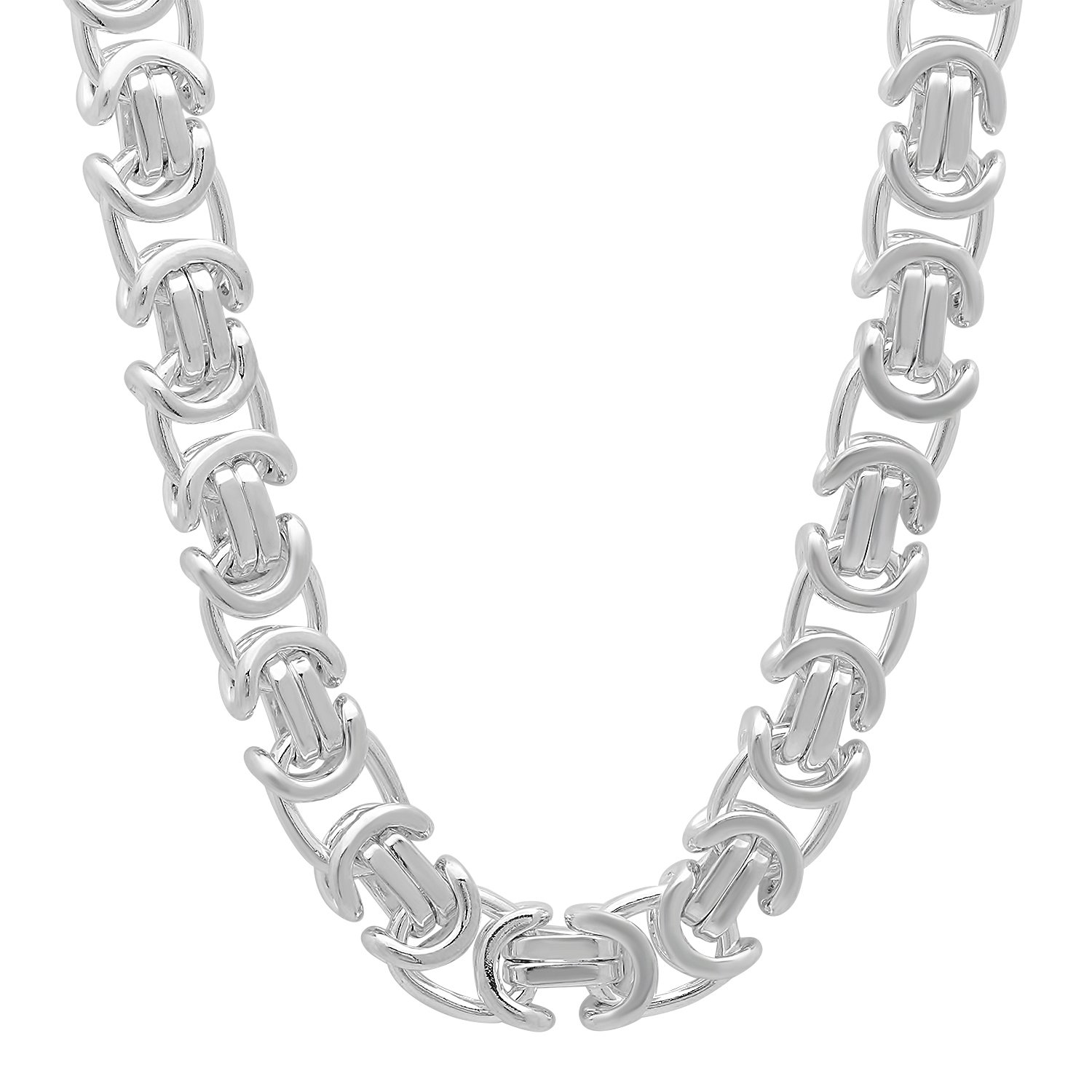8mm 925 Sterling Silver Nickel-Free Byzantine Link Chain, 20'' - Made in Italy + Cleaning Cloth