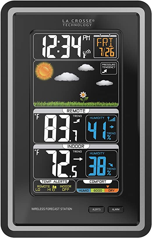 La Crosse Technology S88907 Vertical Wireless Color Forecast Station with Alerts