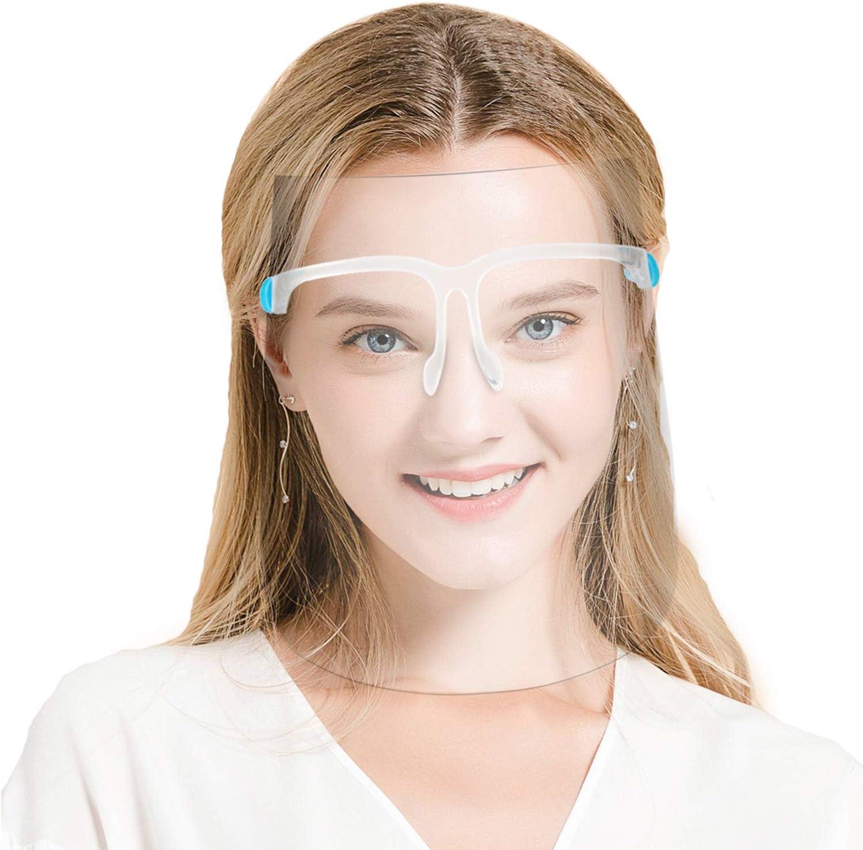 Protector de Protección Facial, Visera de Cara Completa Compatible con Gafas, Protector de Película Transparente Anti Aalpicaduras y Saliva para Hombres y Mujeres (40 Visores, 20 Marcos)