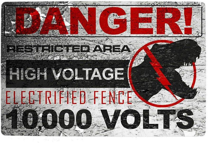 CCparton Jurassic Park High Voltage Metal Warning Sign World Raptor Movie Metal Tin Sign