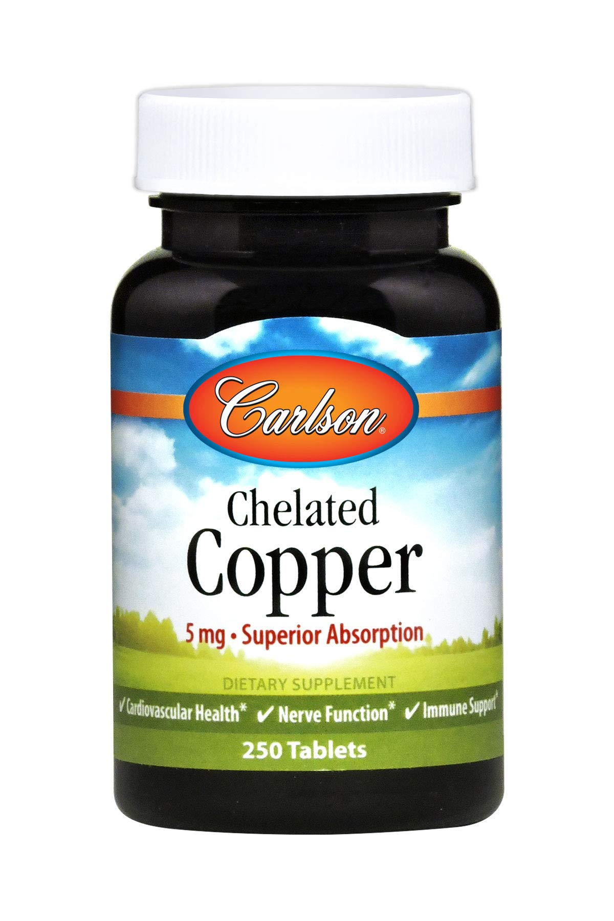 Carlson Chelated Copper 5 mg, 250 Tablets