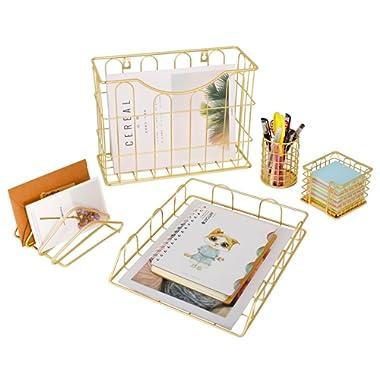 Superbpag Office 5 in 1 Desk Organizer Set Gold- Letter Sorter, Pencil Holder, Stick Note Holder, Hanging File Organizer and Letter Tray
