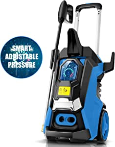 TEANDE 3800PSI Pressure Washer, TED5255 Smart Electric Pressure Washer 2.8 GPM Three Modes of Touch Screen Adjustable Pressure with Telescopic Handle (Blue)