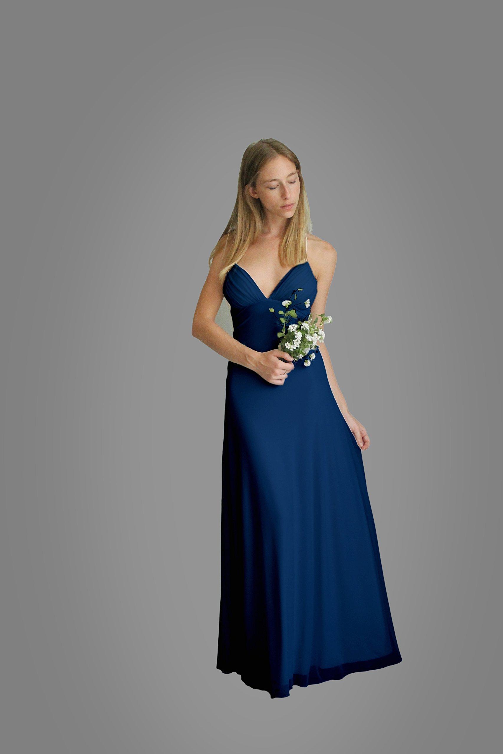 Women's Dress, Navy Blue Bridesmaid Evening Dress, Size M, Maxi Long Dress for Wedding, Chiffon Lycra Classic Gown