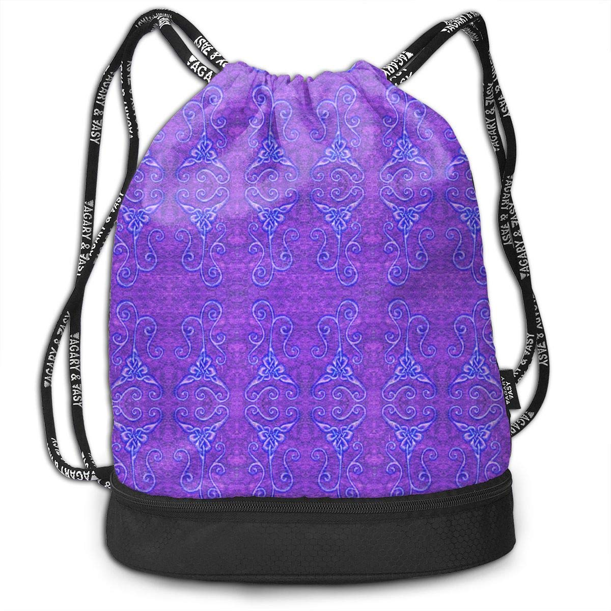 Loopy Purple Knots Drawstring Backpack Sports Athletic Gym Cinch Sack String Storage Bags for Hiking Travel Beach
