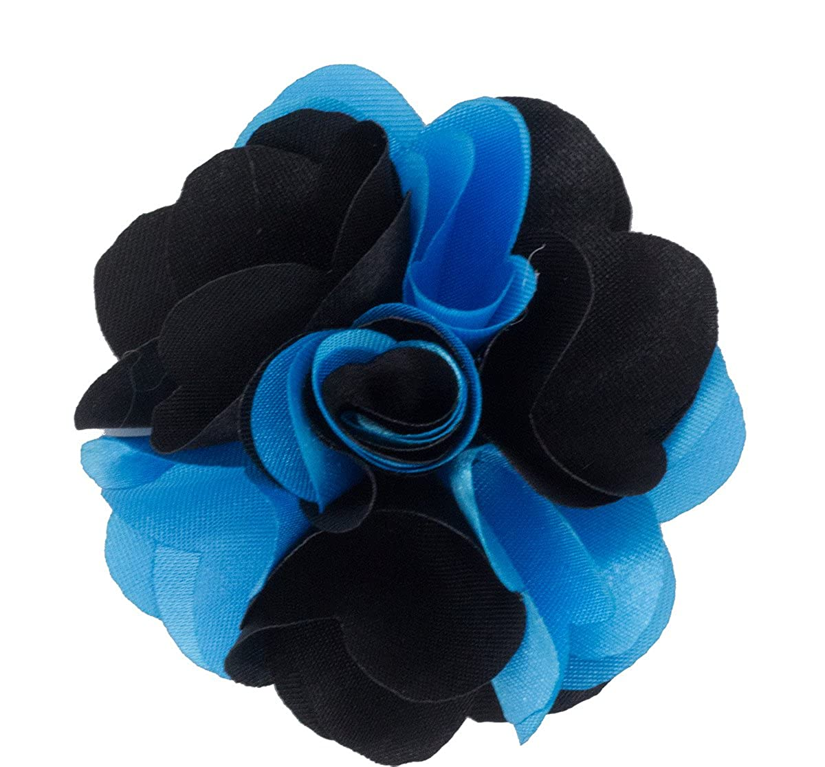 Turquoise and Black Mens Lapel Flower