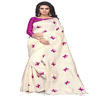 aa8eef409eec71 Roop Craft Cotton Silk Embroidery Work Titli Saree with blouse piece   Amazon.in  Clothing   Accessories