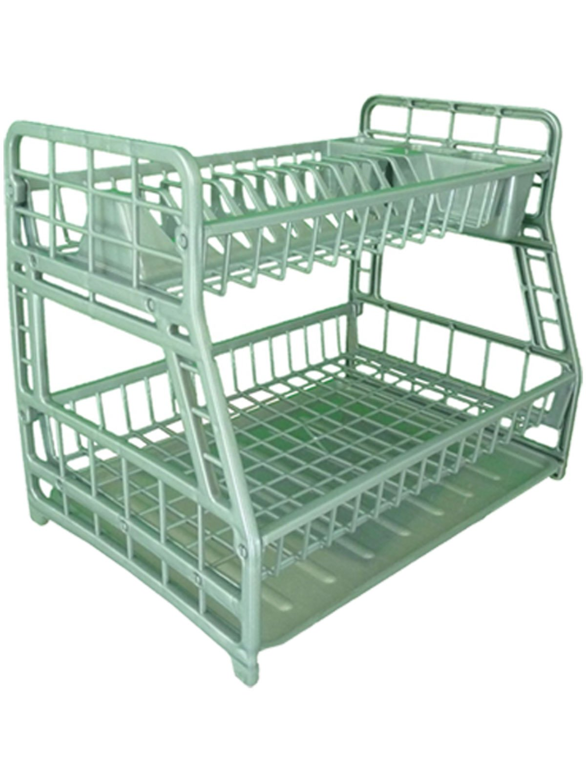 2-Tier Plastic Plated Dish Drainer Glasses Crockery Cutlery Utensil Drainer with Drip Removable Tray (Silver)