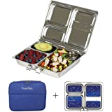 PlanetBox LAUNCH Eco-Friendly Stainless Steel Bento Lunch Box with 3 Compartments for Adults and Kids - Blue Sleeve with Star Map Magnets