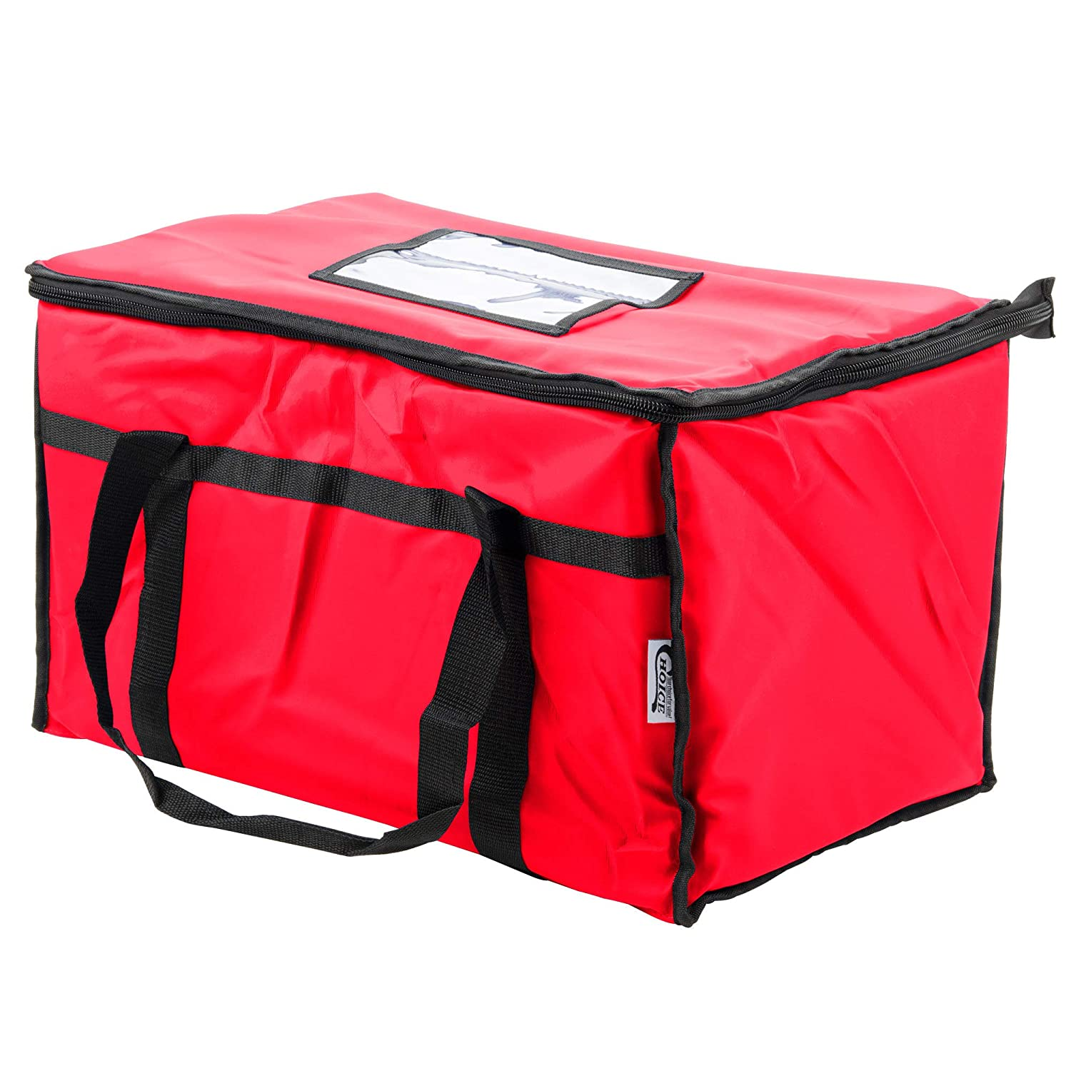 Heavy-Duty Insulated Red Nylon Soft-Sided Food Delivery Bag, Warm and Cool, Buffet Server, Warming Tray, Lunch Container Store - Pizza Box, Chafing Dish, and Pan Carrier, 22