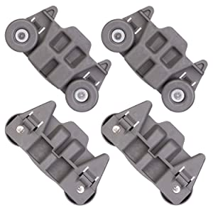[UPGRADED] W10195416 Replacement Part for Lower Dishwasher Wheel, fit for Whirlpool Kenmore AP5983730, W10195416V, W10105417, PS11722152, W10195416VP, Pack of 4, Enhanced Durability with Steel Screws