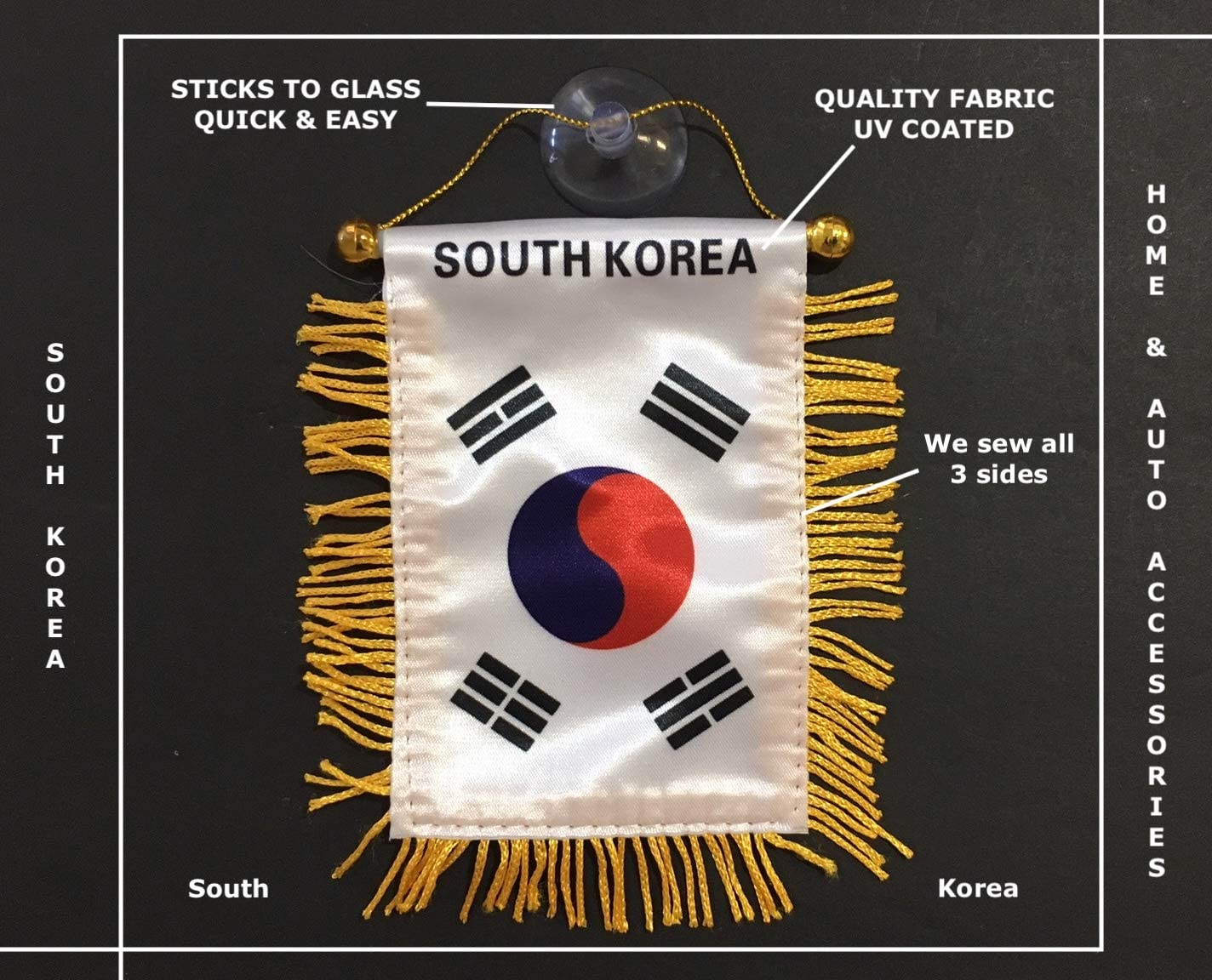 South Korea flags for cars accessory Korean design sticker decal small mini banners automobiles accessories interiror style rearview mirror Home Windows Korean mini Banner Quality Hanging Flags