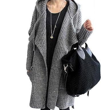 dcf7a89aa1 EMIN Women s Print Drape Open Front Drape Boyfriend Cardigan Sweaters  Knited Sweater Coat Outwear