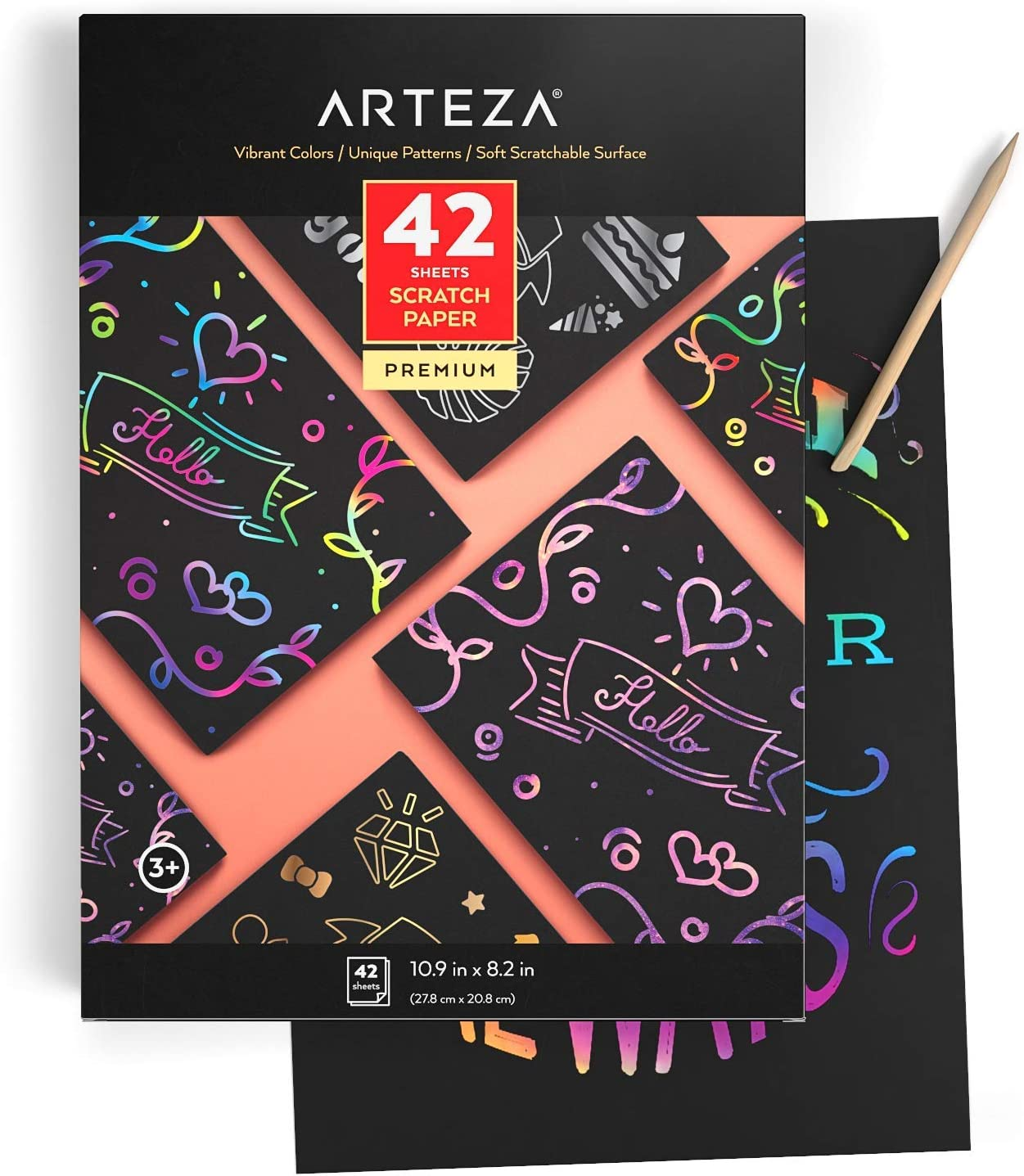 10.9x8.2 inch Sheets ARTEZA Scratch Paper Set of 42 for Kids 4 Post Cards Art Set Include: 4 Unique Patterns Art /& Craft Classrooms and DIY Projects 4 Stencils 4 Scratchers