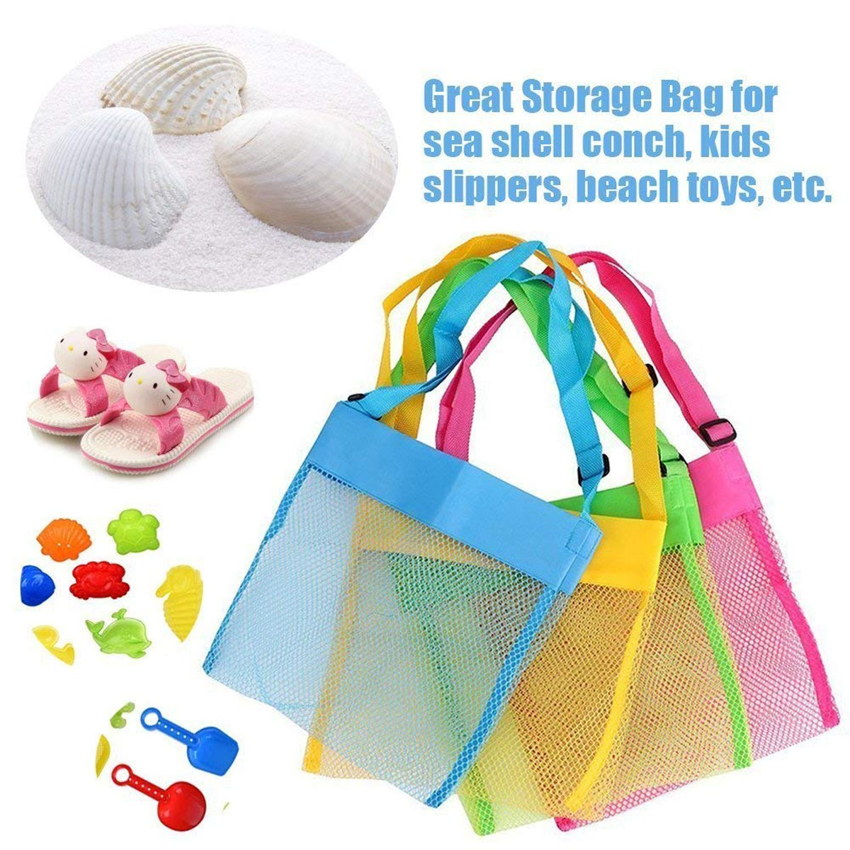 """Bylove 5 Pieces Colorful Mesh Beach Bags Breathable Sea Shell Bags Toy Storage Bags with Adjustable Carrying Straps (5 pieces, 9.8"""" x 9.4"""") by Bylove (Image #2)"""