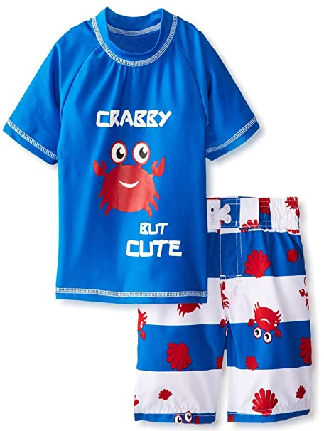 8bef317e iXtreme Little Boys Toddler Crab Short Sleeve Rashguard 2Pc Swim Trunk Set,  Royal, 4T