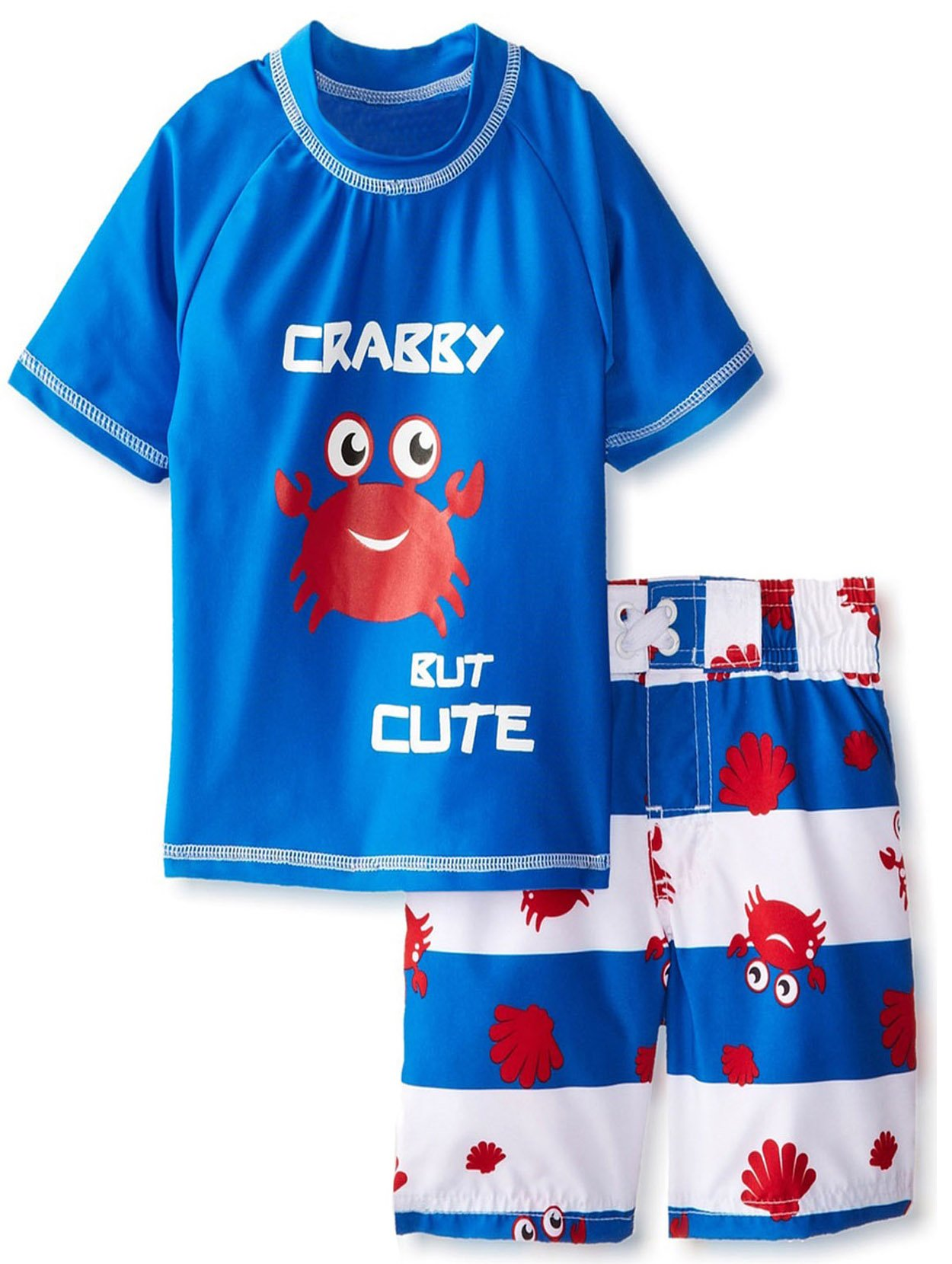 iXtreme Little Boys Toddler Crab Short Sleeve Rashguard 2Pc Swim Trunk Set, Royal, 4T