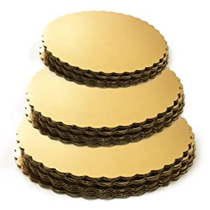 Set of 18 - Gold Cake Board Rounds, Circle Cardboard Base, 6, 8 and 10-Inch. Perfect for Cake Decorating, 6 of Each Size