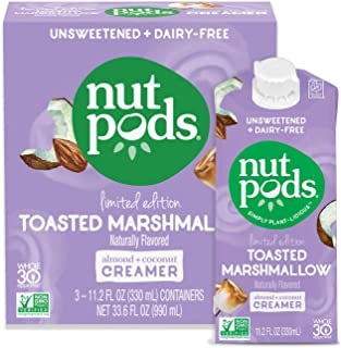 product image for nutpods Toasted Marshmallow, (3-Pack), Unsweetened Dairy-Free Liquid Creamer, Made from Almonds and Coconuts, Whole30, Gluten Free, Non-GMO, Vegan, Kosher