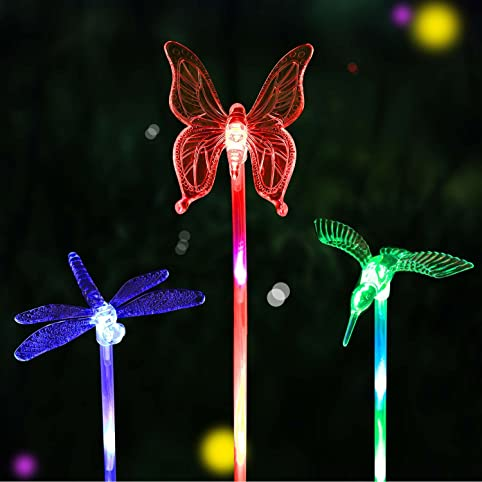 HCTro Solar Garden Lights, Crystal Upper Stake With Built In Multi Color  Changing 3 LED