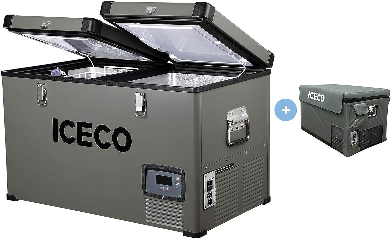ICECO 68 Quart Portable Car Refrigerator With SECOP Compressor, AC 110V/ DC 12V Freezer for Car, Home, Camping, RV 0°F to 50°F & Freezer Insulated Transit Bag
