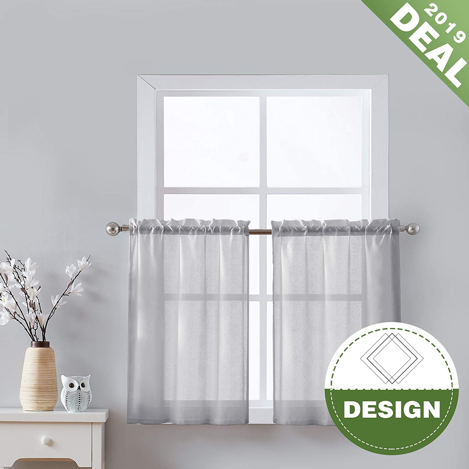 Gray Kitchen Curtains 36-inches Long Opaque Half Window Tier Moroccan Tile  Pattern Jacquard Café Curtain Sheers for Bathroom Windowsill 2 Panels