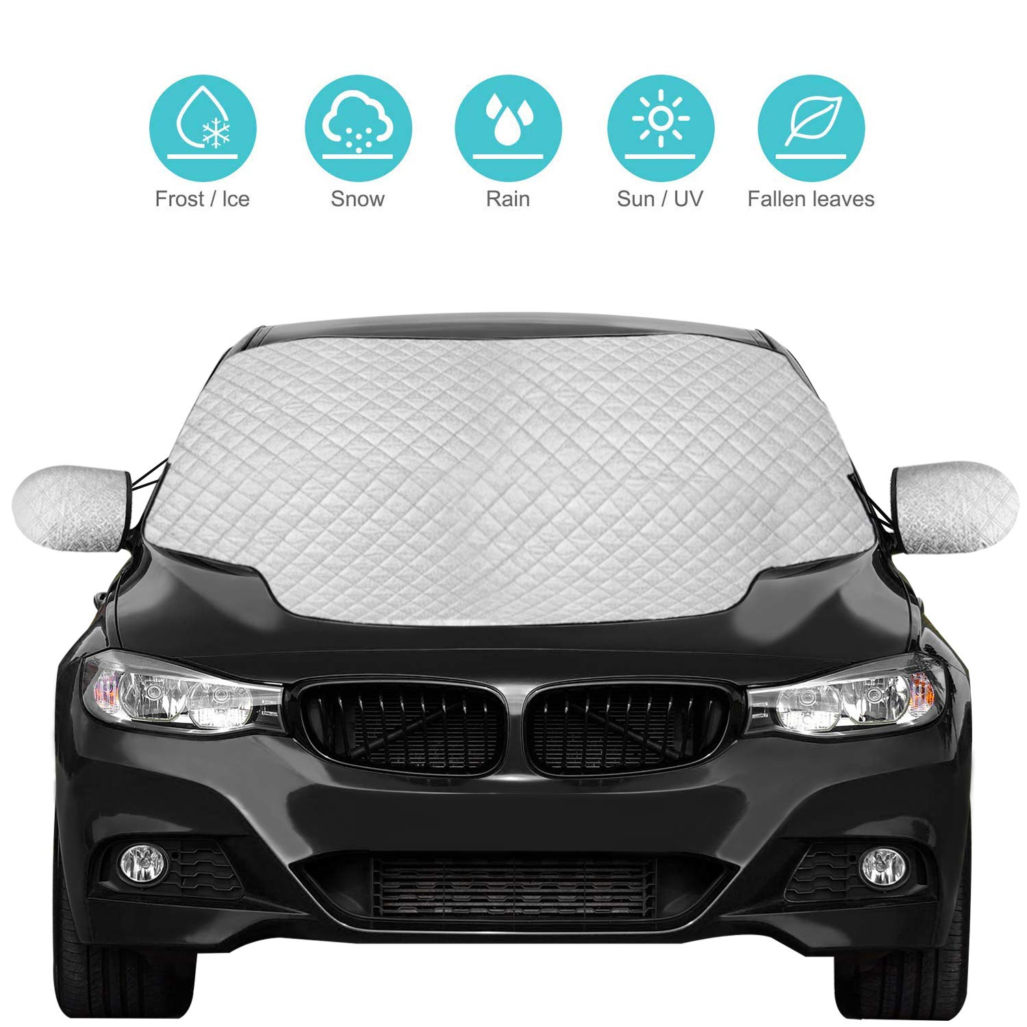 QcoQce Car Windscreen, Magnetic Snow Cover with Two Mirror Covers, Windshield Ice Cover Dust Sun Shade Protector in All Weather (147× 120cm) Windshield Ice Cover Dust Sun Shade Protector in All Weather (147×120cm)