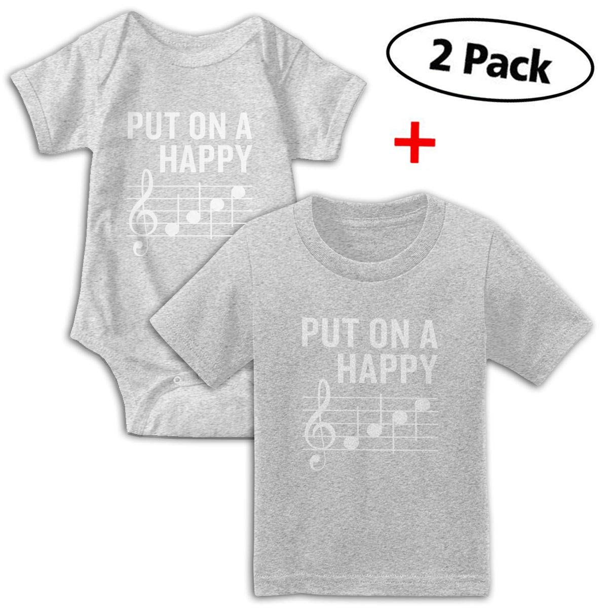 Put On A Happy Musical Note Babys Boys /& Girls Short Sleeve Bodysuit Outfits And T-shirt