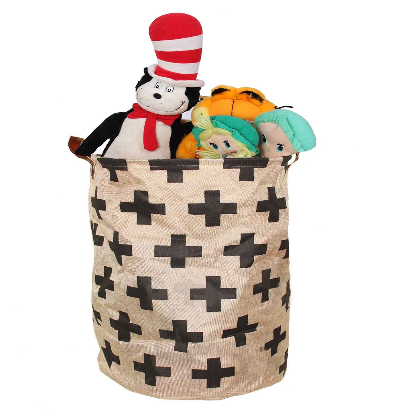 Toy Storage Bin Perfect for Toys Clothes or Laundry leather Carry handles cotton plus sign design where organazation and style meets 22 by 16 inch By Decor Hut