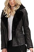 trueprodigy Casual Damen Marken Lederjacke echt Leder, Damenjacke cool und stylisch vintage (sportlich & Slim Fit), Jacke für Frauen in Farbe: Schwarz 3773503-2999
