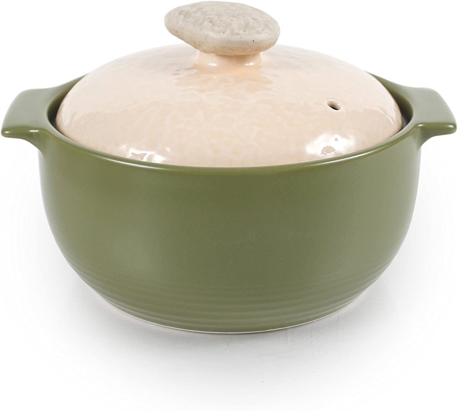 Neoflam 1 Quart Non-Stick Ceramic Casserole Pot, Dutch Oven, Clay Pot, Stockpot for Stew, Soup, Steam, Scratch Resistant, Refrigerator, Oven Safe, Heat Resistant up to 752F with White Lid, Lime