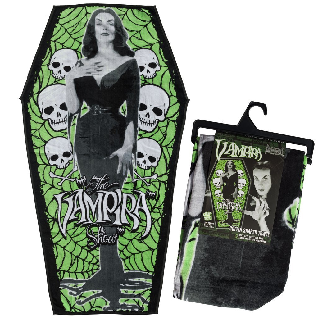 Kreepsville Official Vampira Coffin Beach Towel