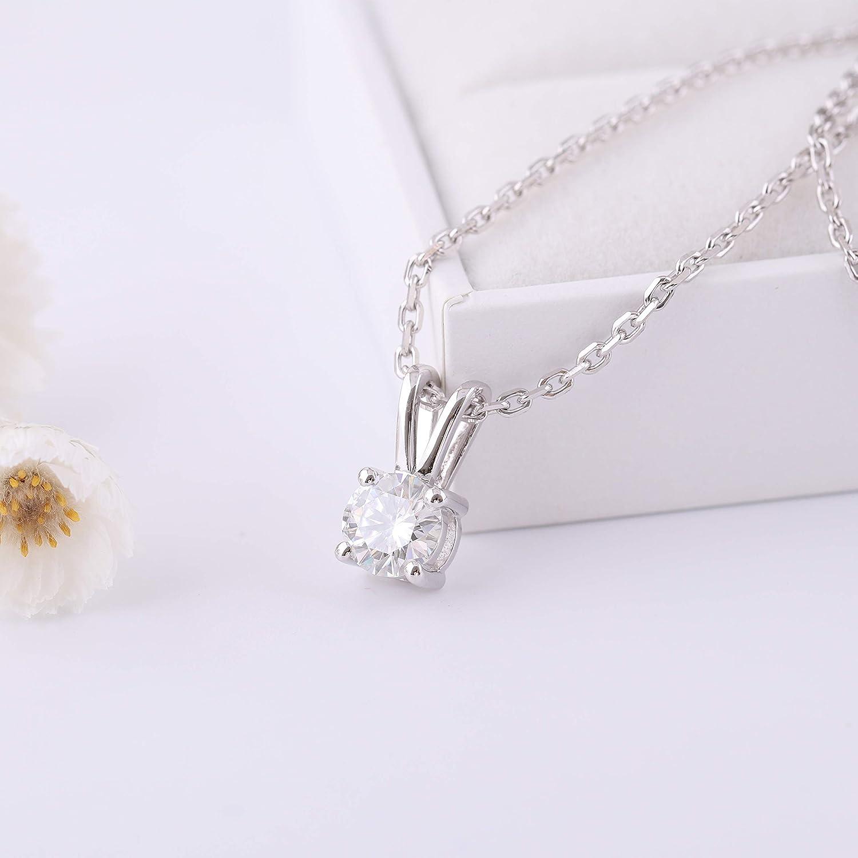 DovEggs Sterlng Silver 1ct 6.5mm G-H-I Color Heart Arrows Cut Moissanite Pendant Necklace Solitare for Women