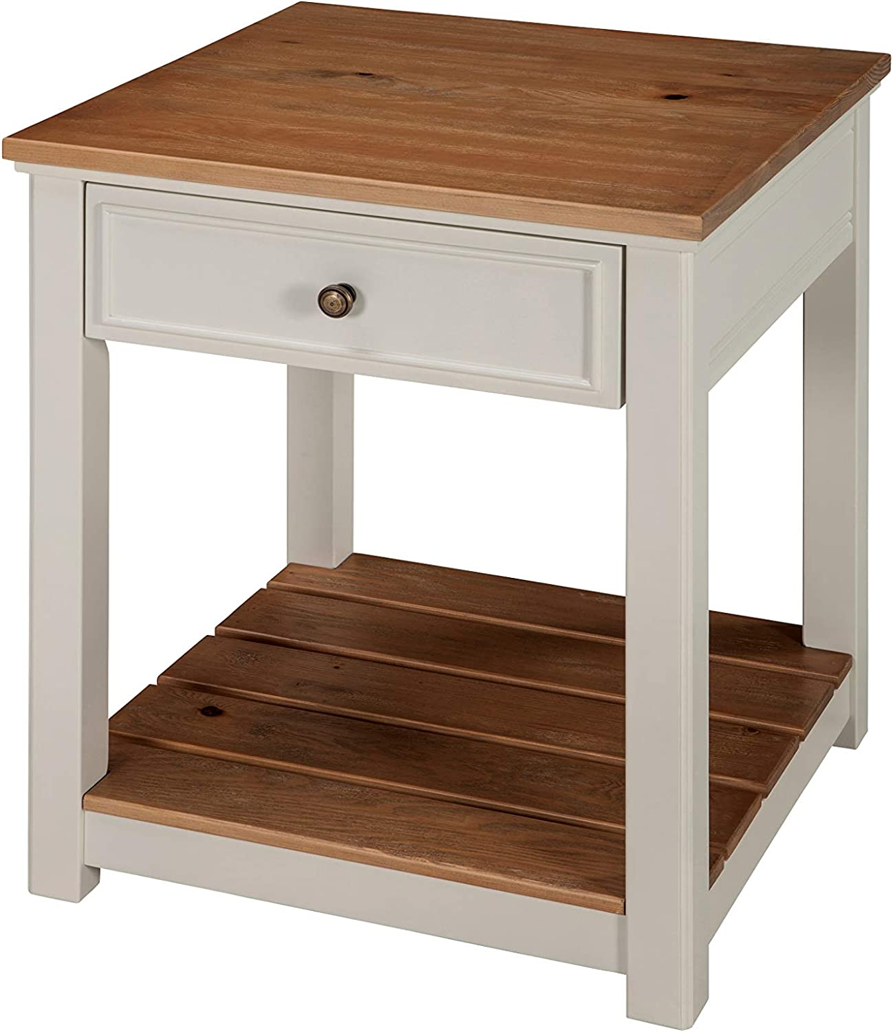 Savannah 1-Drawer End Table, Ivory with Natural Wood Top