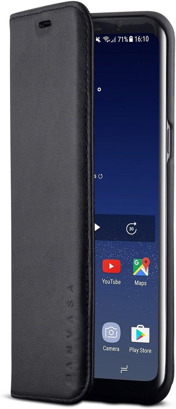KANVASA Funda Galaxy S8 Plus Tipo Libro Piel Negro Case Cover ...