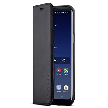 KANVASA Funda Galaxy S8 Plus Tipo Libro Piel Negro Case Cover Carcasa Plegable Cartera Pro en Piel Auténtica Premium para Samsung Galaxy S8+ (6,2