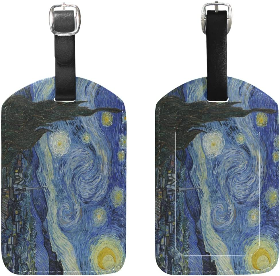 Blue Viper Van Gogh Starry Night PU Leather Luggage Tags Personalized