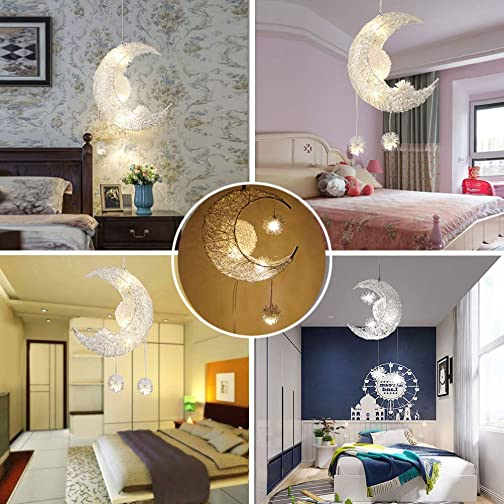 DDSKY LED Pendant Light, DDSKY Modern Moon Star Shape LED Pendant Lamp Chandelier Ceiling Light Creative LED Lamp Fixture for Kids Child Bedroom Living Room Home Decoration, Warm White