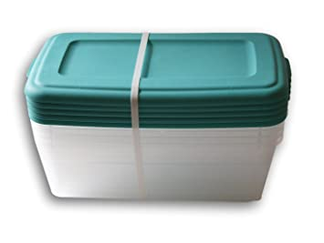 Amazoncom Sterilite 6 Quart Storage Bin Shoe Box Clear and Teal