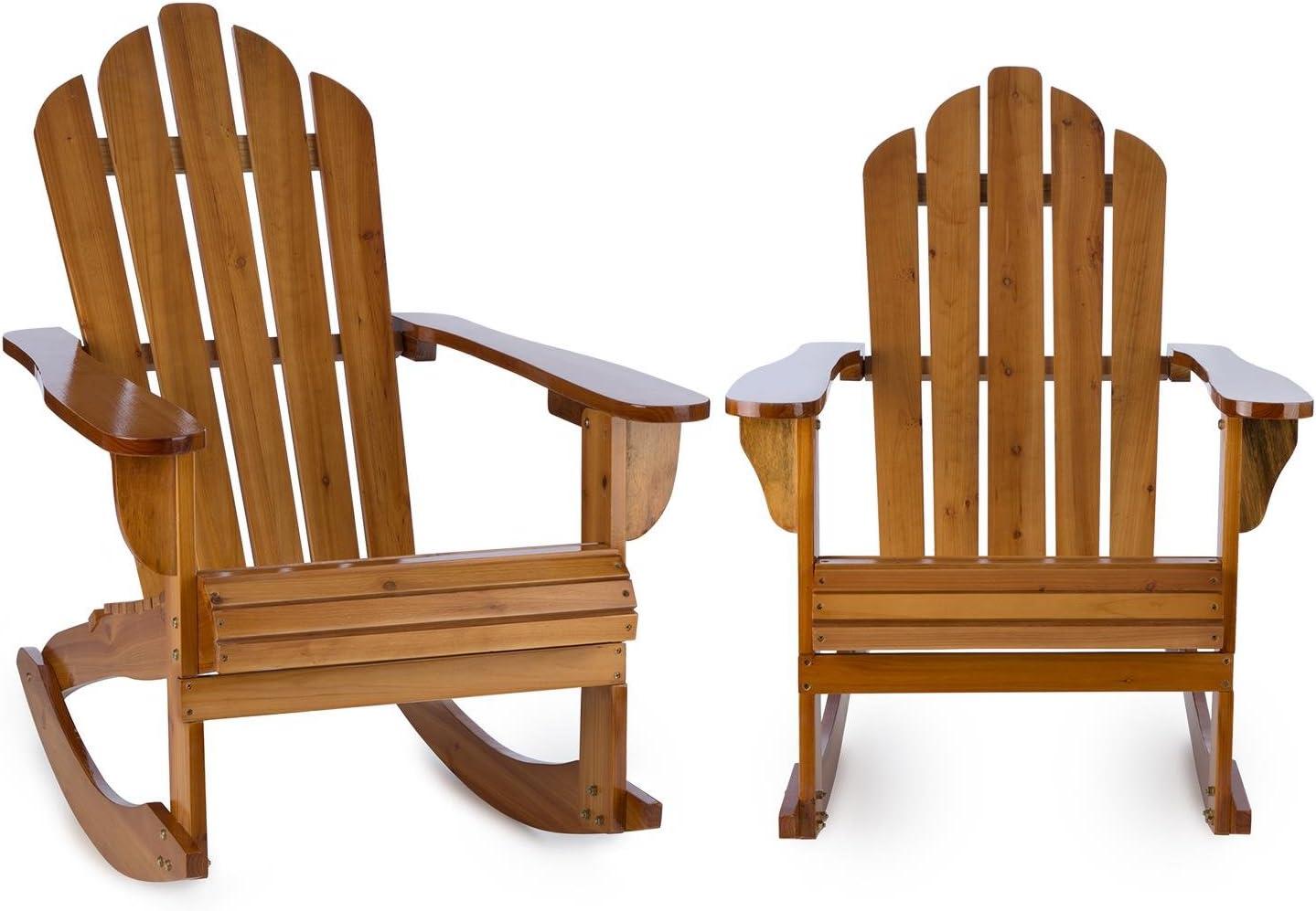 blumfeldt Rushmore Set 2 sillas de jardín Estilo clásico Adirondack (Madera de Pino, 71x95x105 cm, Plegable, Resistente a Intemperie) - marrón