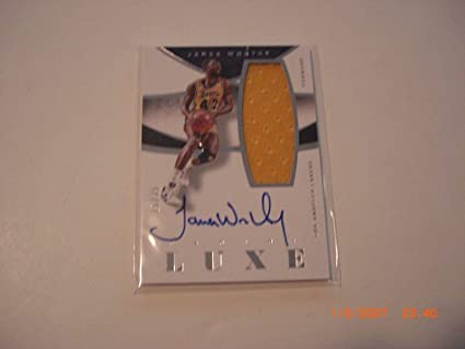 c72cd9212a7 Image Unavailable. Image not available for. Color  James Worthy 14 15  Panini Luxe Game Used Jersey ...