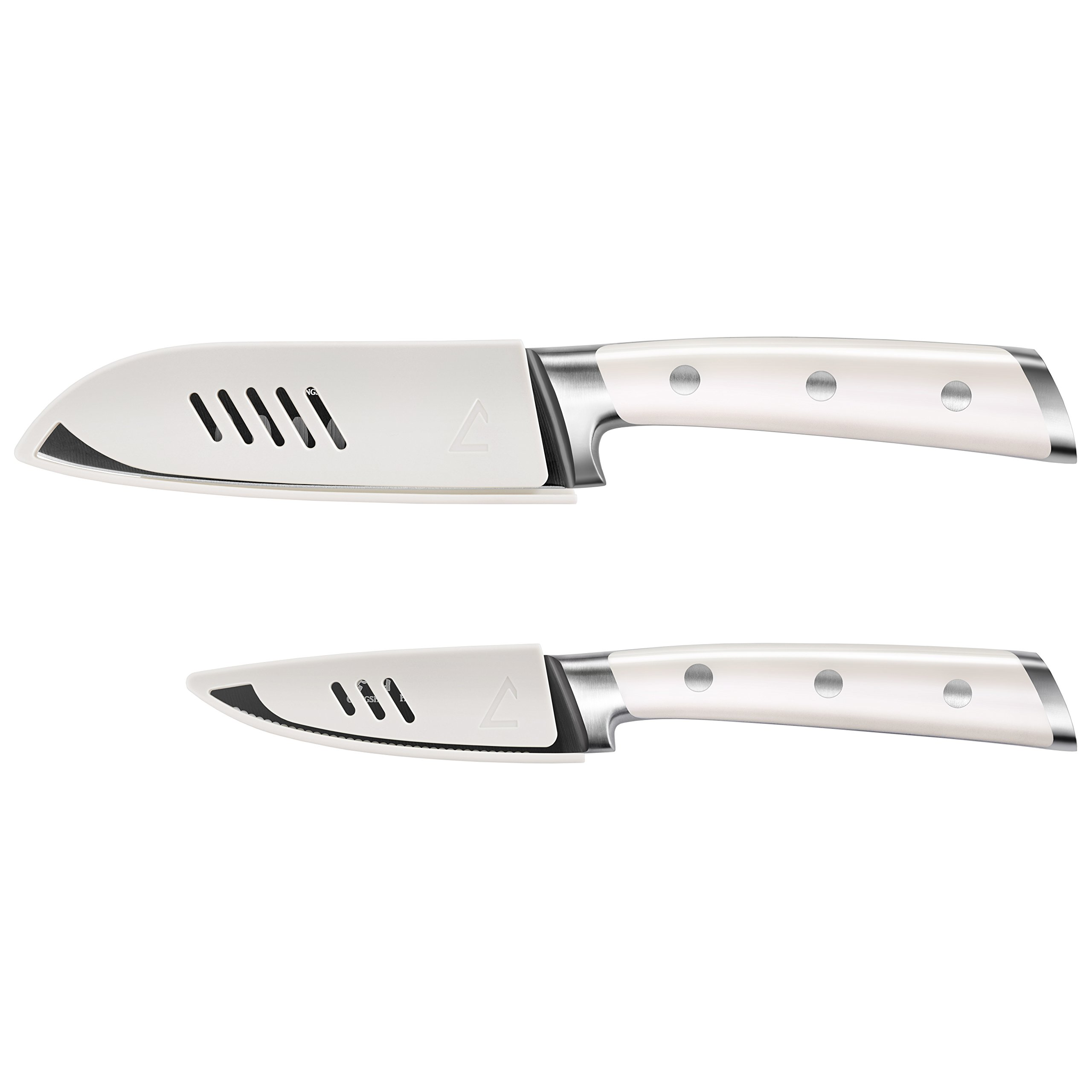 Cangshan S+ Series 1022100 German Steel Forged 2-Piece Titanium Coated Santoku Starter Knife Set with Sheaths, Vanilla White by Cangshan (Image #2)