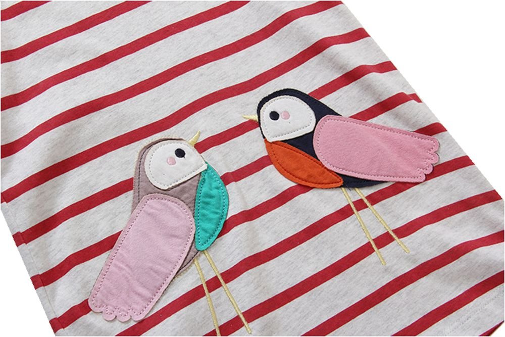 HILEELANG Toddler Girls Summer Cotton Short Sleeves Applique Casual Striped Dresses by HILEELANG (Image #3)