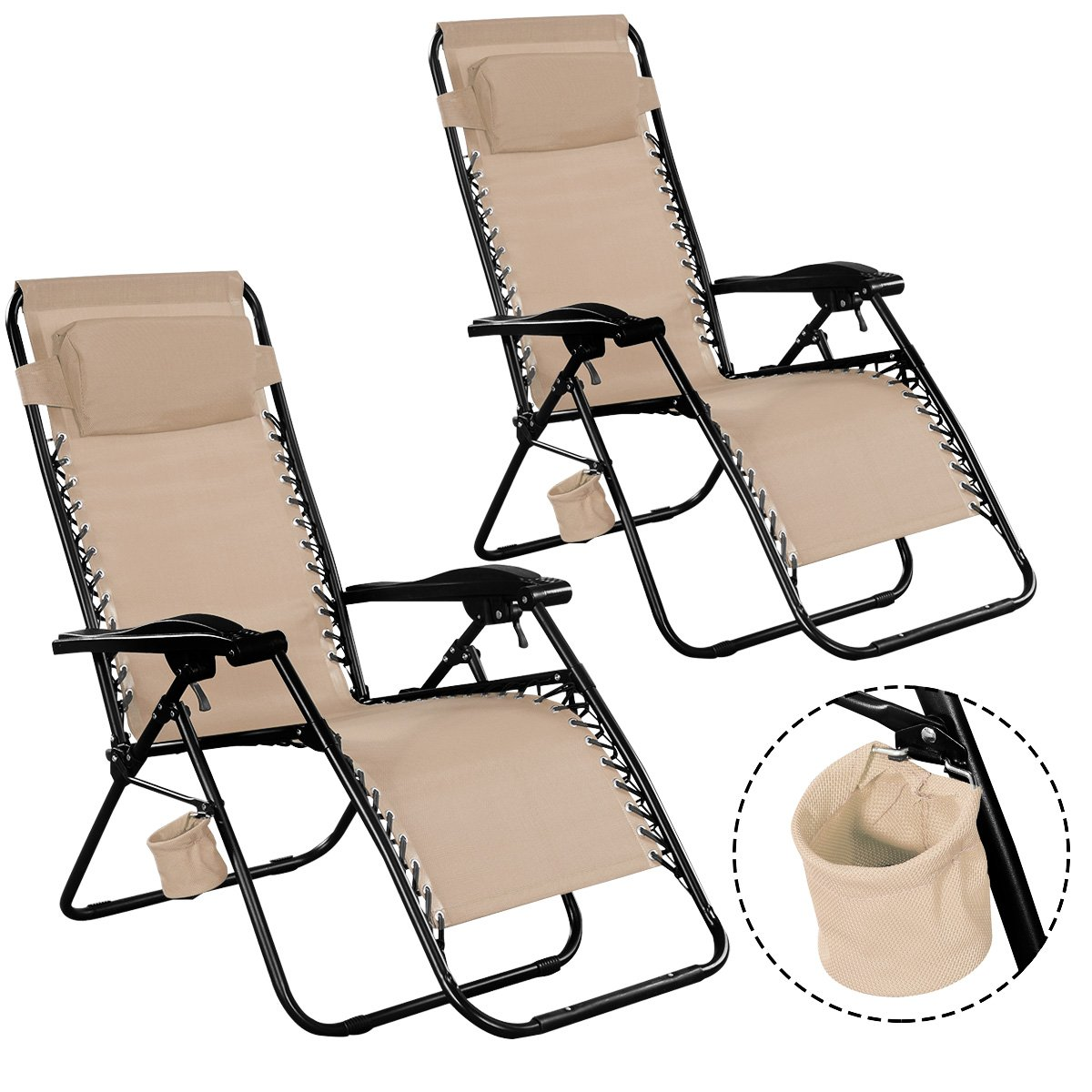 Giantex Folding Zero Gravity Reclining Lounge Chairs Outdoor Beach Patio Yard New 2Light Brown