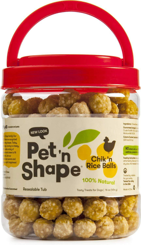 Pet 'n Shape Chicken Dog Treats, Chik 'n Rice Balls, Tub, 1 Pound, 3 Pack
