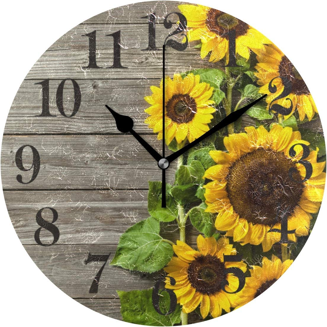 WIHVE Rustic 10 Inch Round Wall Clock Sunflowers Wooden Clock Wall Decor for The Kitchen Living Room Bedroom Office