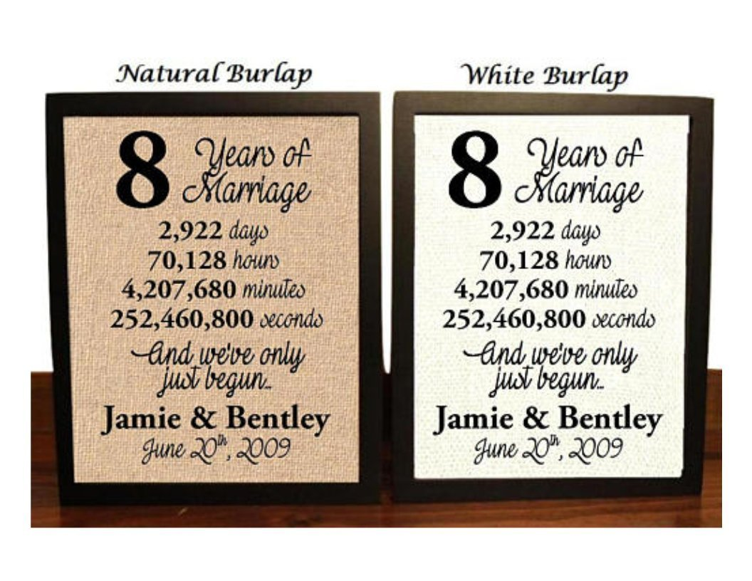 Amazon Com 8 Year Anniversary Burlap Print 8th Anniversary 8th Anniversary Gift 8 Years Together 8th Wedding Anniversary 8th Anniversary Gift For Her 8 Years Of Marriage Handmade