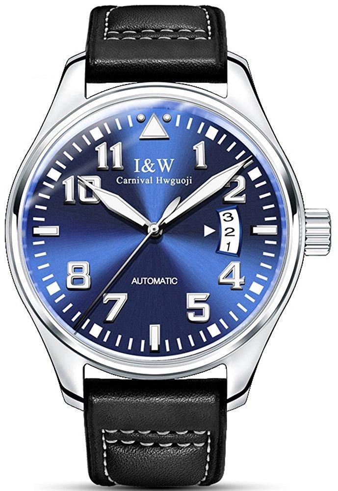 メンズの元の自動機械腕時計Luminousアナログカレンダーサファイアガラスレザーバンドウォッチ ブルー B076Y2PXMB ブルー ブルー
