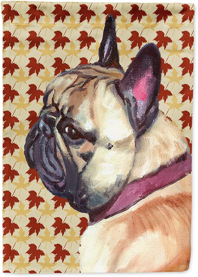 Caroline's Treasures LH9559GF French Bulldog Frenchie Fall Leaves Flag Garden Size, Small, Multicolor
